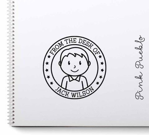 Personalized Boy Rubber Stamp - PinkPueblo