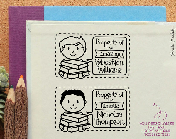 Bookplate Stamp for Kids, Personalized Bookplate Label Stamp - Choose Hairstyle and Text - PinkPueblo
