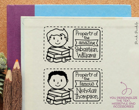 Bookplate Stamp for Kids, Personalized Bookplate Label Stamp - Choose Hairstyle and Text