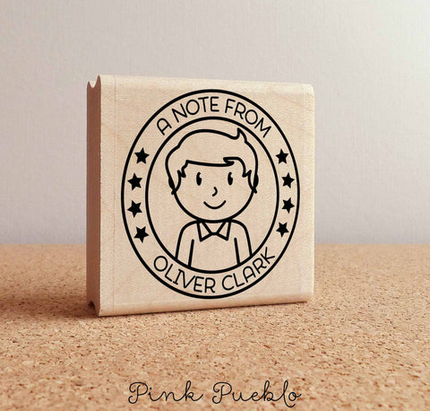 Personalized Rubber Stamp for Boys, Custom Kids Rubber Stamp - PinkPueblo