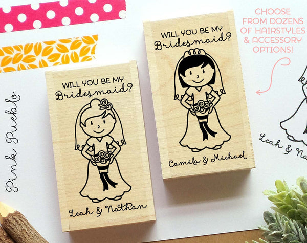Personalized Wedding Stamp, Bridesmaid Proposal Card or Label Stamp - Choose Hairstyle and Accessories - PinkPueblo