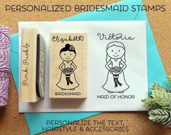 Personalized Bridesmaid Rubber Stamp, Personalized Bridesmaid Proposal Stamp OR Bridesmaid Gift - Choose Hairstyle and Accessories - PinkPueblo