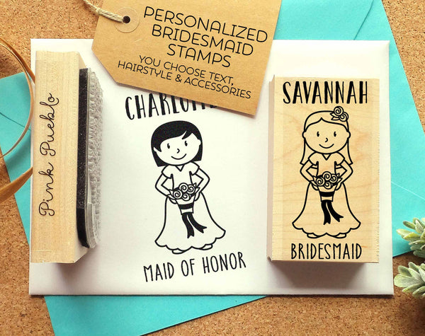 Personalized Bridesmaid Gift, Personalized Bridesmaid Stamp, Bridesmaid Proposal Stamp - Choose Hairstyle and Accessories