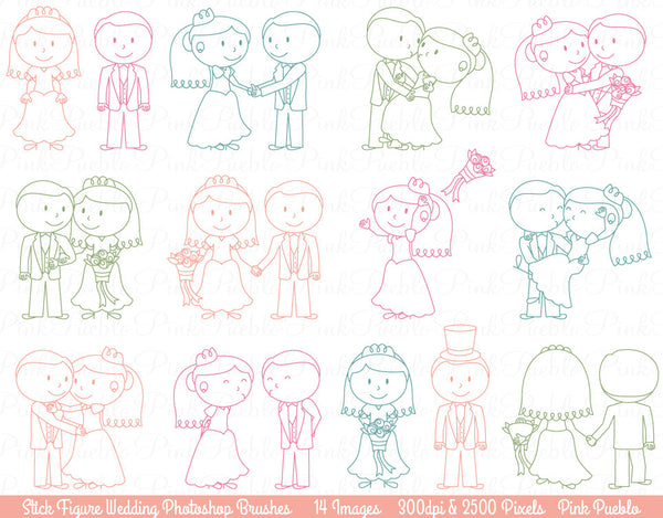 Wedding Stick Figure Photoshop Brushes
