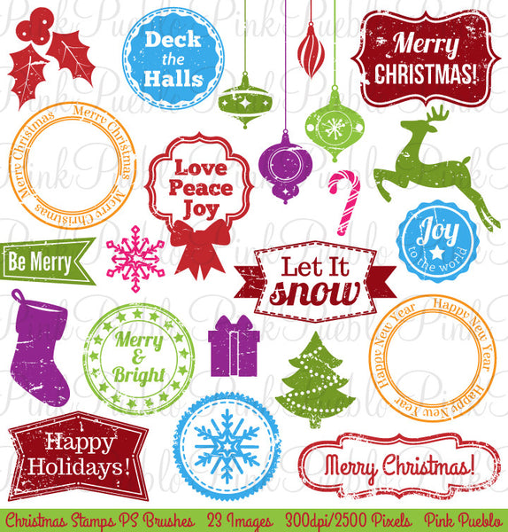 Christmas Stamps Photoshop Brushes - PinkPueblo