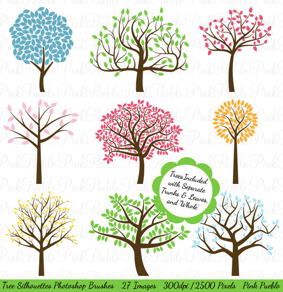 Tree Silhouettes Photoshop Brushes - PinkPueblo