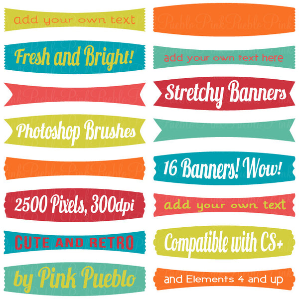 Stretchy Banners Photoshop Brushes