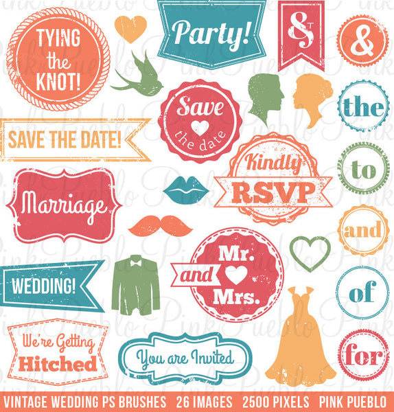 Vintage Wedding Stamps Photoshop Brushes - PinkPueblo
