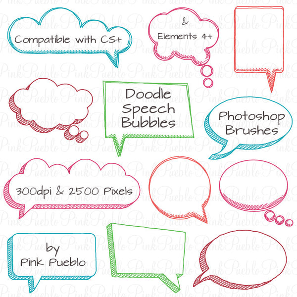 Doodle Speech Bubbles Photoshop Brushes