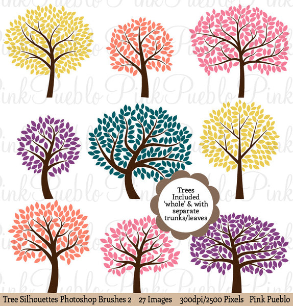 Tree Silhouettes Photoshop Brushes 2 - PinkPueblo