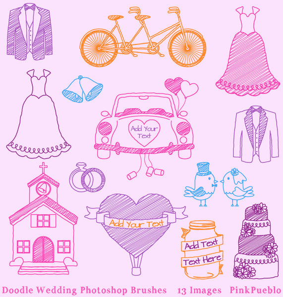 Doodle Wedding Photoshop Brushes - PinkPueblo