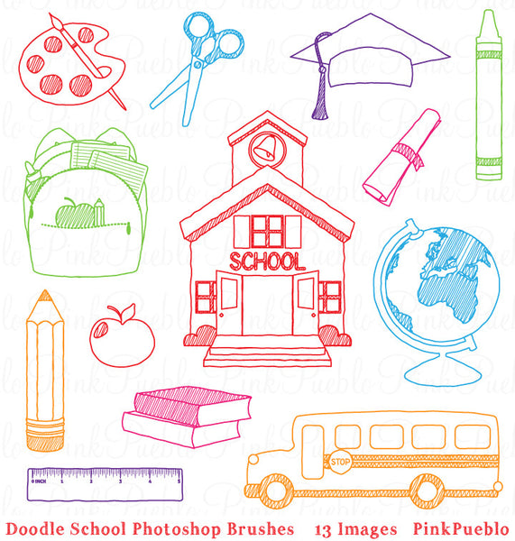 Doodle School Photoshop Brushes - PinkPueblo