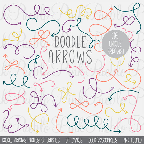 Doodle Arrows Photoshop Brushes - PinkPueblo