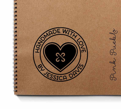 Personalized Sewing Rubber Stamp, Handmade with Love Heart Button