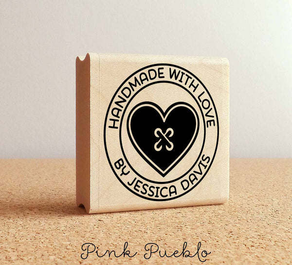 Personalized Sewing Rubber Stamp, Handmade with Love Heart Button - PinkPueblo