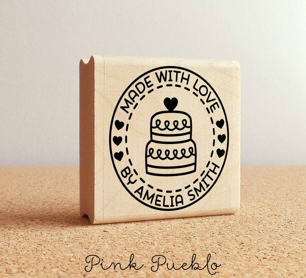 Made with Love Personalized Rubber Stamp, Baking Stamp with Cake - PinkPueblo