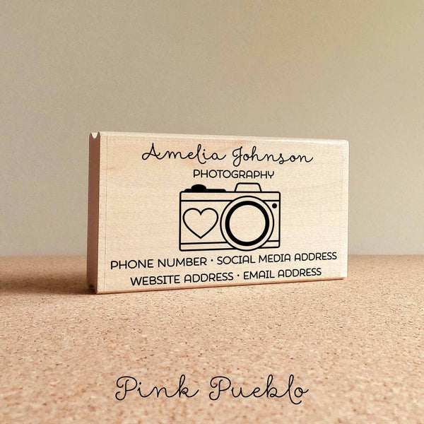Personalized Photography Business Card Stamp, Camera Business Card Rubber Stamp - PinkPueblo