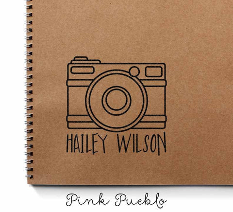 Personalized Custom Photography Rubber Stamp with Camera and Name - PinkPueblo