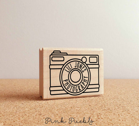 Personalized Custom Photography Rubber Stamp with Camera - PinkPueblo