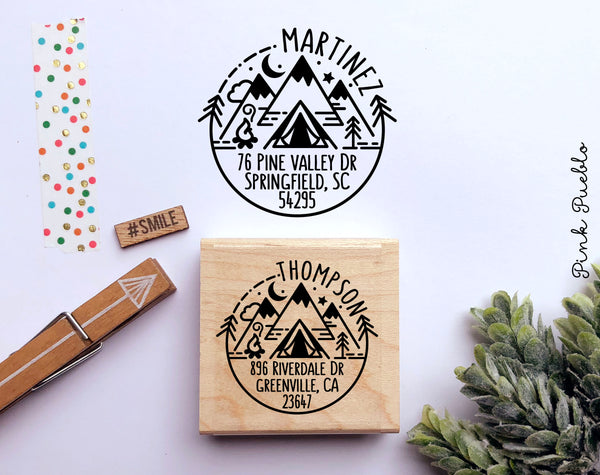 Camping Return Address Stamp, Round Address Stamp with Geometric Mountains - PinkPueblo