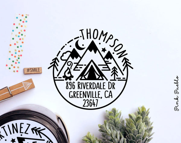 Self Inking Return Address Stamp with Camping Scene and Mountains, Outdoors Round Self Inking Return Address Stamp - PinkPueblo