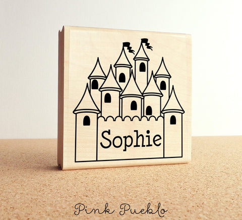 Large Personalized Princess Custom Rubber Stamp, Custom Castle Stamp