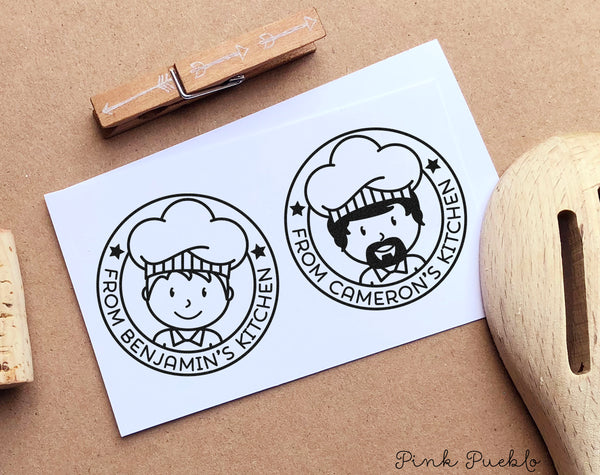 Personalized From the Kitchen of Stamp, Cooking Gift or Baking Gift, Gifts for Men - Choose Hairstyle and Accessories