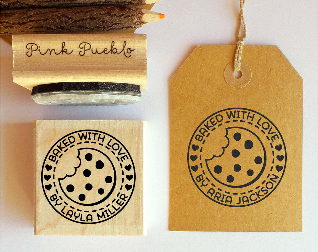 Personalized baked with love rubber stamp cookie stamp for baking gifts or baked goods labels