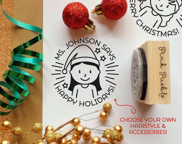 Merry Christmas from Teacher Rubber Stamp, Happy Holidays Teacher Stamp, Personalized Teacher Gift - Choose Hairstyle - PinkPueblo