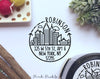 City Scape Self Inking Return Address Stamp, Round Self Inking Return Address Stamp with City Skyline - PinkPueblo