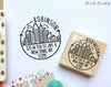 City Skyline Address Stamp, Return Address Stamp with Modern Geometric Cityscape - PinkPueblo