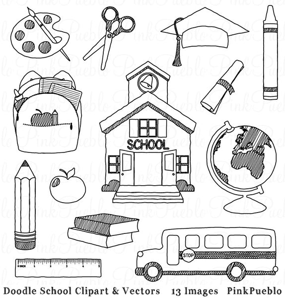 Doodle School Clipart and Vectors - PinkPueblo