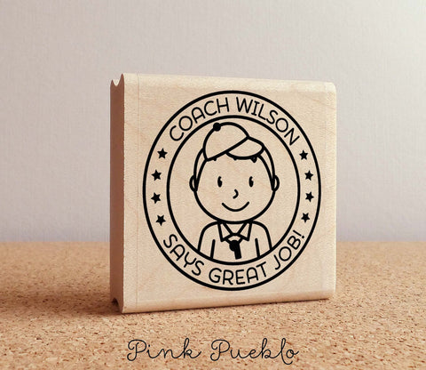 Coach Rubber Stamp, Male Coach or Teacher Rubber Stamp, Personalized Teacher Gift - Choose Hairstyle and Accessories - PinkPueblo