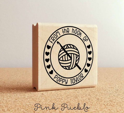 Personalized Crochet Rubber Stamp, From the Hook Of Crochet Stamp - PinkPueblo