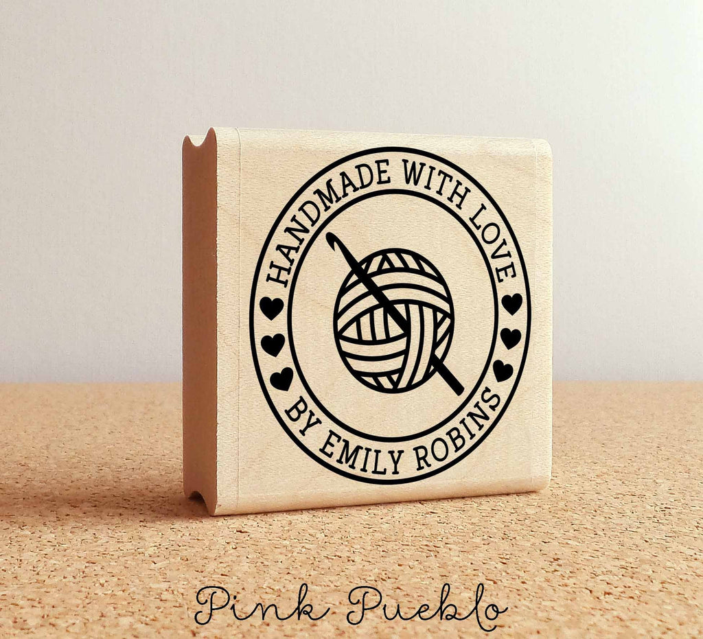 Personalized Crochet Rubber Stamp Handmade With Love Yarn