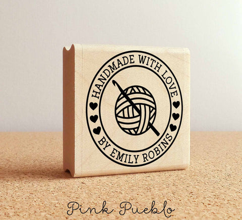 Personalized Crochet Rubber Stamp, Handmade with Love Crochet Yarn - PinkPueblo