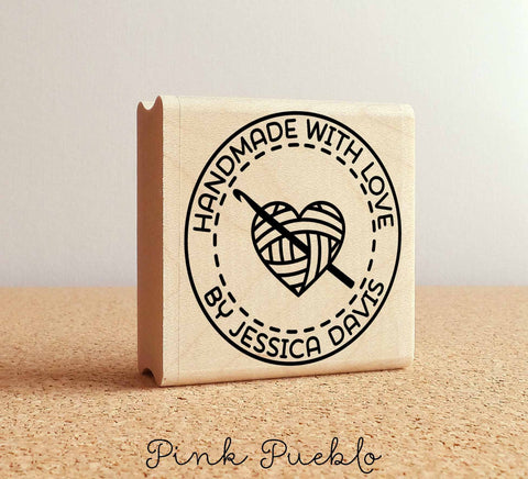 Personalized Crochet Rubber Stamp, Handmade with Love Crochet Heart