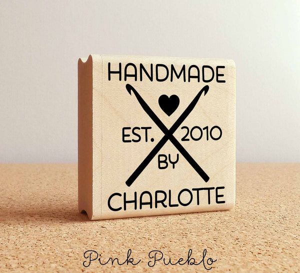 Personalized Crochet Rubber Stamp, Handmade By Custom Crochet Stamp