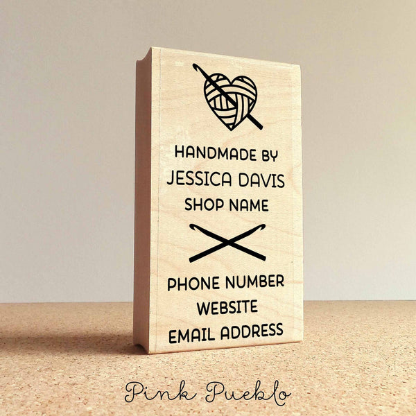 Personalized Crochet Business Card Stamp, Handmade By Business Card Rubber Stamp - PinkPueblo