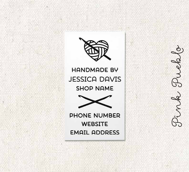 Personalized Crochet Business Card Stamp Handmade By Business Card