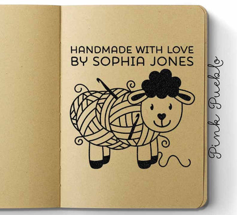 "Large 3x3"" Personalized Sheep Crochet Rubber Stamp - PinkPueblo"