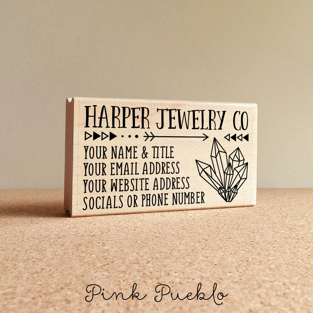 Personalized Business Card Stamp, Custom Boho Geometric Crystal ...