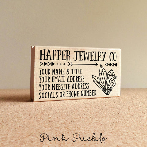 Personalized Business Card Stamp, Custom Boho Geometric Crystal Business Card Rubber Stamp - PinkPueblo