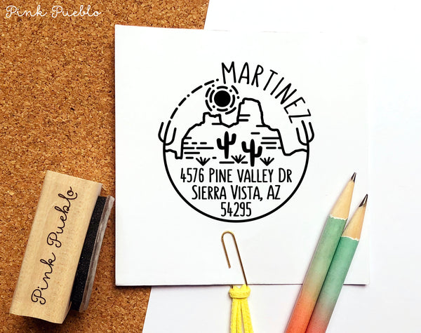 Desert Address Stamp, Cactus Return Address Stamp, Personalized Modern Return Address Stamp with Cactus and Mountains - PinkPueblo