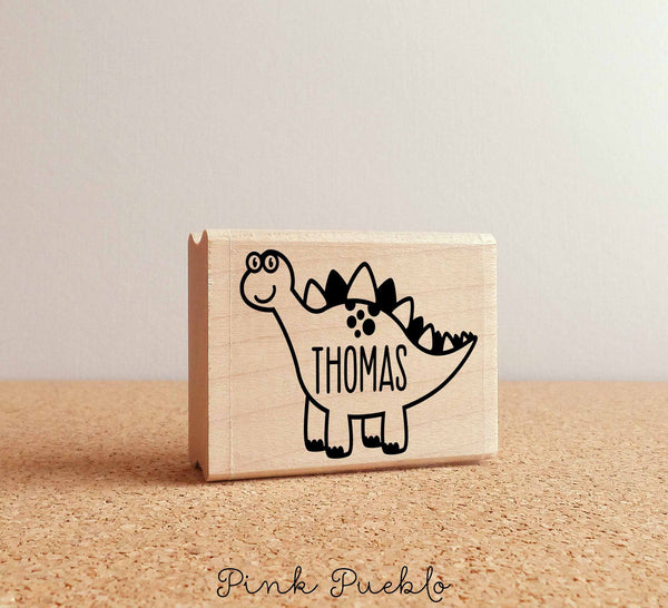 Custom Dinosaur Rubber Stamp with Personalized Name - PinkPueblo