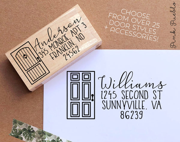 Personalized Address Stamp with Front Door - Choose Your Door Style
