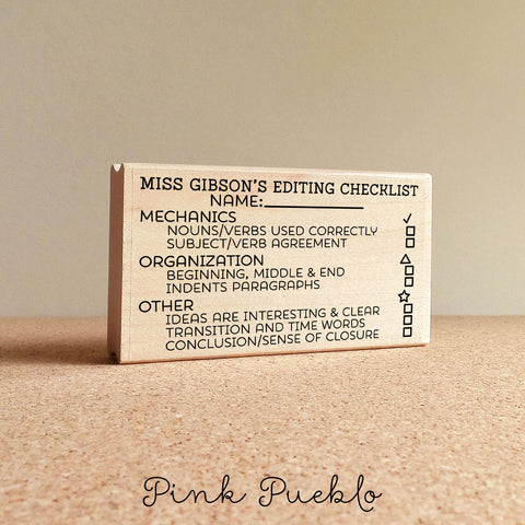 Teacher Writing Checklist Stamp, Teacher Checklist Stamp - PinkPueblo