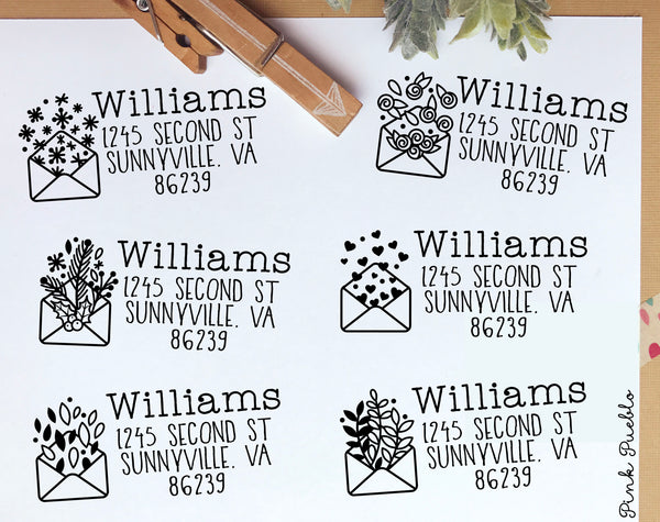 Seasonal Return Address Stamp, Address Stamp with Holiday Envelopes