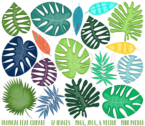 Tropical Leaves Clipart and Vectors - PinkPueblo