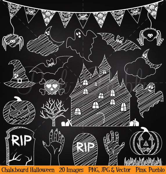Chalkboard Halloween Clipart and Vectors
